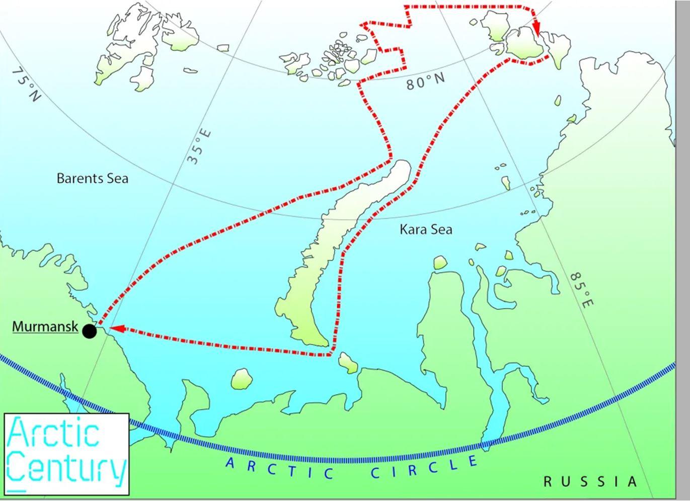 Mapa Ártico occidental ruso